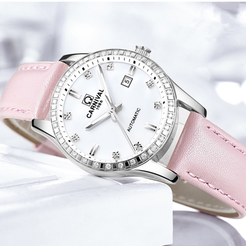CARNIVAL Brand Fashion Rose Gold Automatic Watch Woman Luxury Waterproof Luminous Casual Mechanical Wristwatch Relogio Feminino enlarge