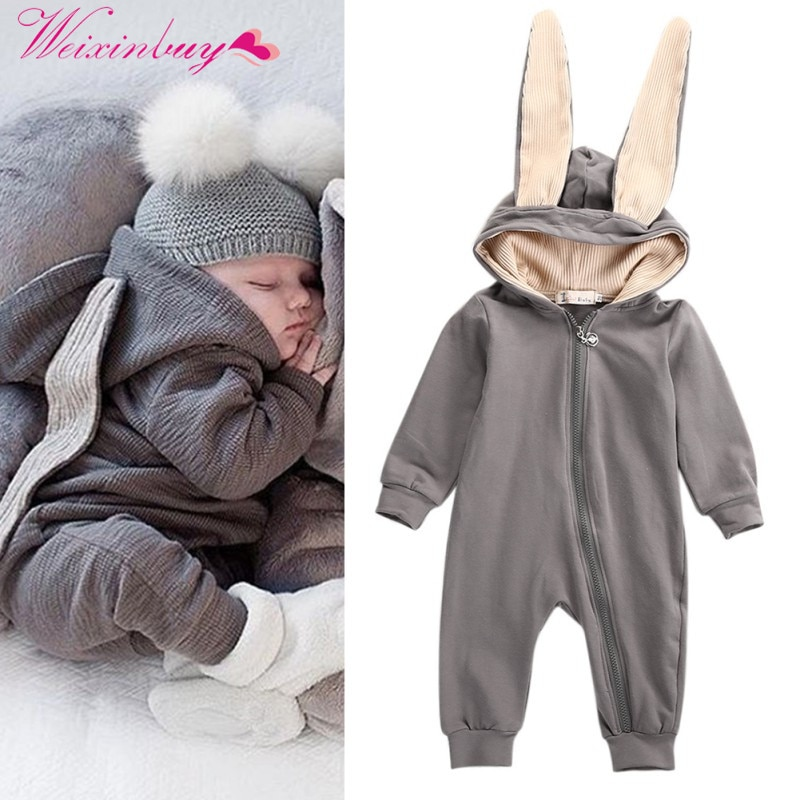 Bebê macacão nova primavera outono bonito dos desenhos animados coelho infantil menina menino jumpers crianças roupas de bebê