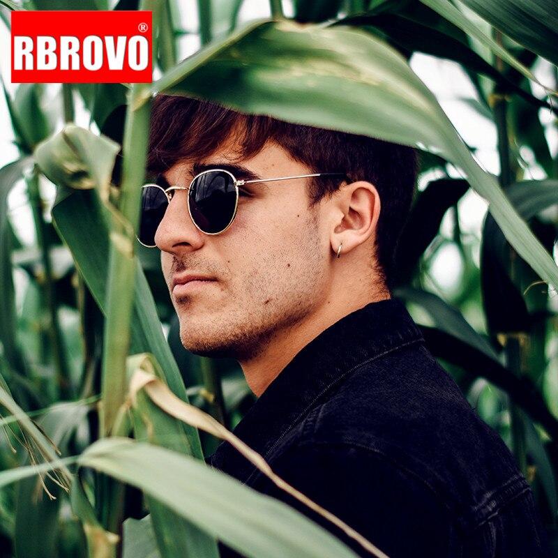 RBROVO Retro Oval Sunglasses Men 2019 Luxury Round Sunglasses Men/Women Vintage Sunglasses Men Small Mirror Lentes De Sol Hombre