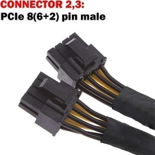 20cm Graphics Card 8 Pin Female to 2*8P(6+2)pin Extention Power Cable Male PCIe PCI Express 4 Lines