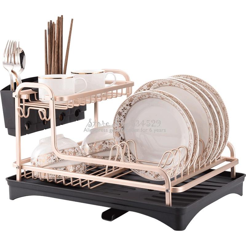 متعددة الاستخدام سبائك الألومنيوم طبق رف منظم مطبخ تجفيف تجفيف لوحة الجرف بالوعة لوازم شوكة وسكينة الحاويات