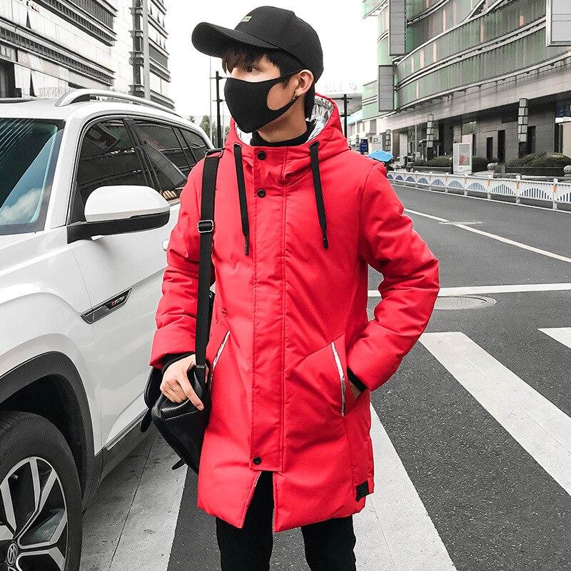 Зимняя парка E-BAIHUI, пальто с капюшоном, однотонная длинная Мужская куртка, Повседневная Свободная ветровка, мужская куртка, Модное теплое пл...