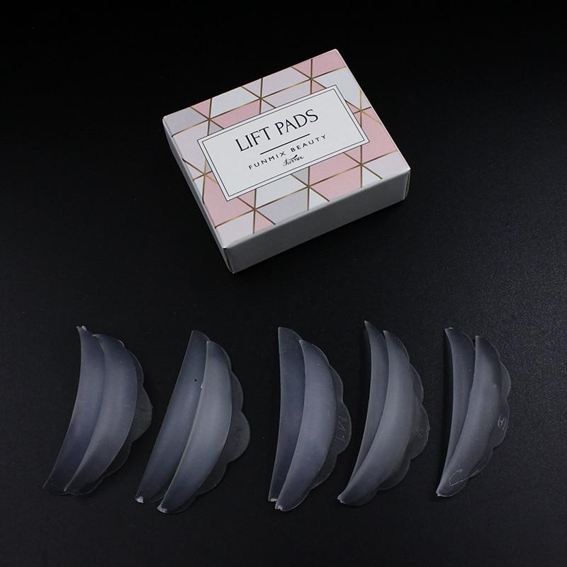 Funmix 5 pares = 10 Uds Pestaña de silicona almohadilla permanente reciclaje barras de pestañas escudo levantamiento 3D rizador de pestañas herramientas