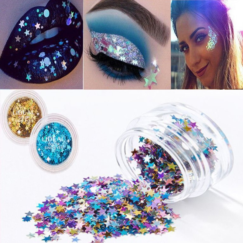 6 color maquillaje estrella de cinco puntas-en forma de lentejuelas brillo diamante párpados labios piel fluorescente brillante cosméticos Decoración