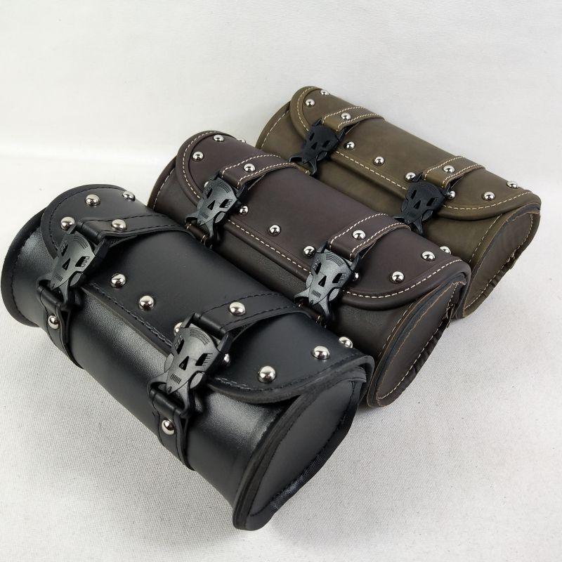 PU Leather Universal Motorcycle Tool Bag Front Fork Handlebar Saddlebag Roll Barrel Racing Tail Storage