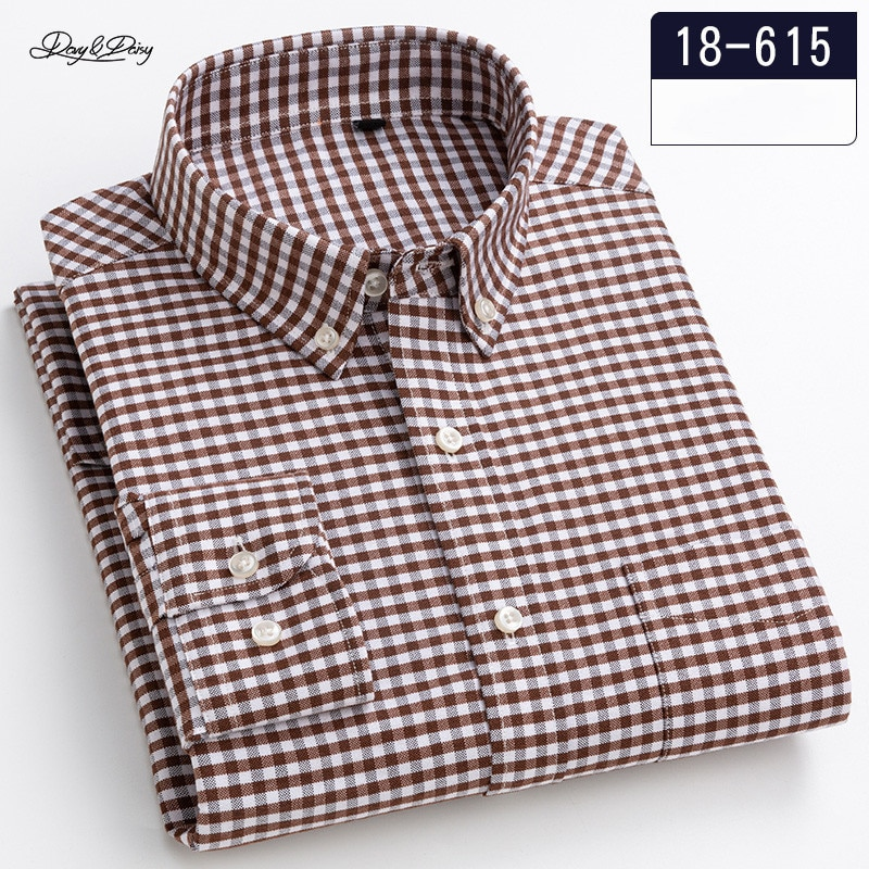 2021 New Men Shirt 100% Cotton High Quality Long Sleeve Casual Business Slim Fit Plaid Fashion Branded Clothes Spring DA445