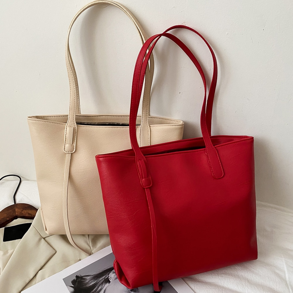 Women Simple Handbags Fashion PU Leather Large Capacity Shoulder Bags Portable Lady Daily Travel Shopping Totes