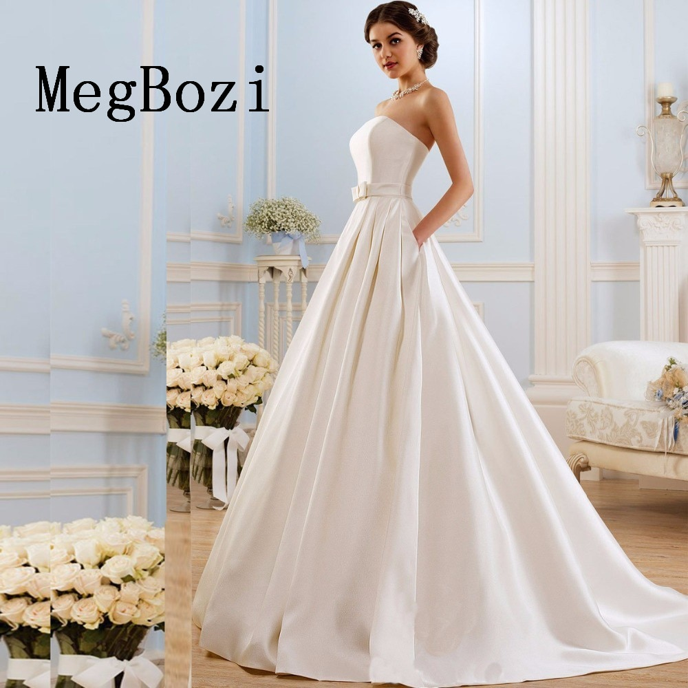 Vestidos De Novia De corte A con bolsillos clásicos, Vestidos De boda...