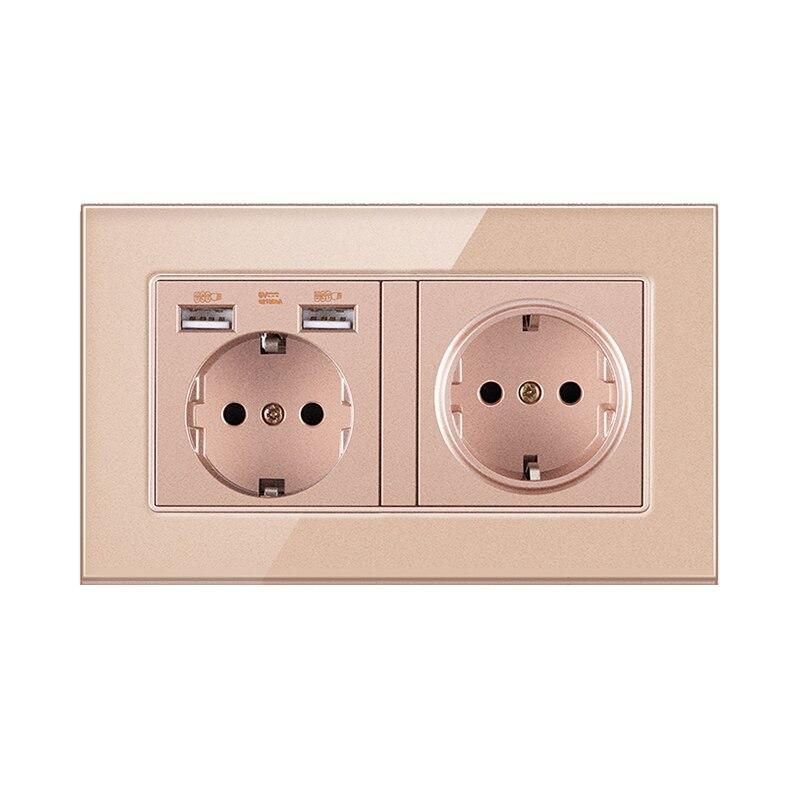 الذهب الاتحاد الأوروبي القياسية الكهربائية مقبس USB الكريستال والزجاج لوحة الجدار ألمانيا الاتحاد الأوروبي المقبس مع منفذ USB AC110-250V 16A