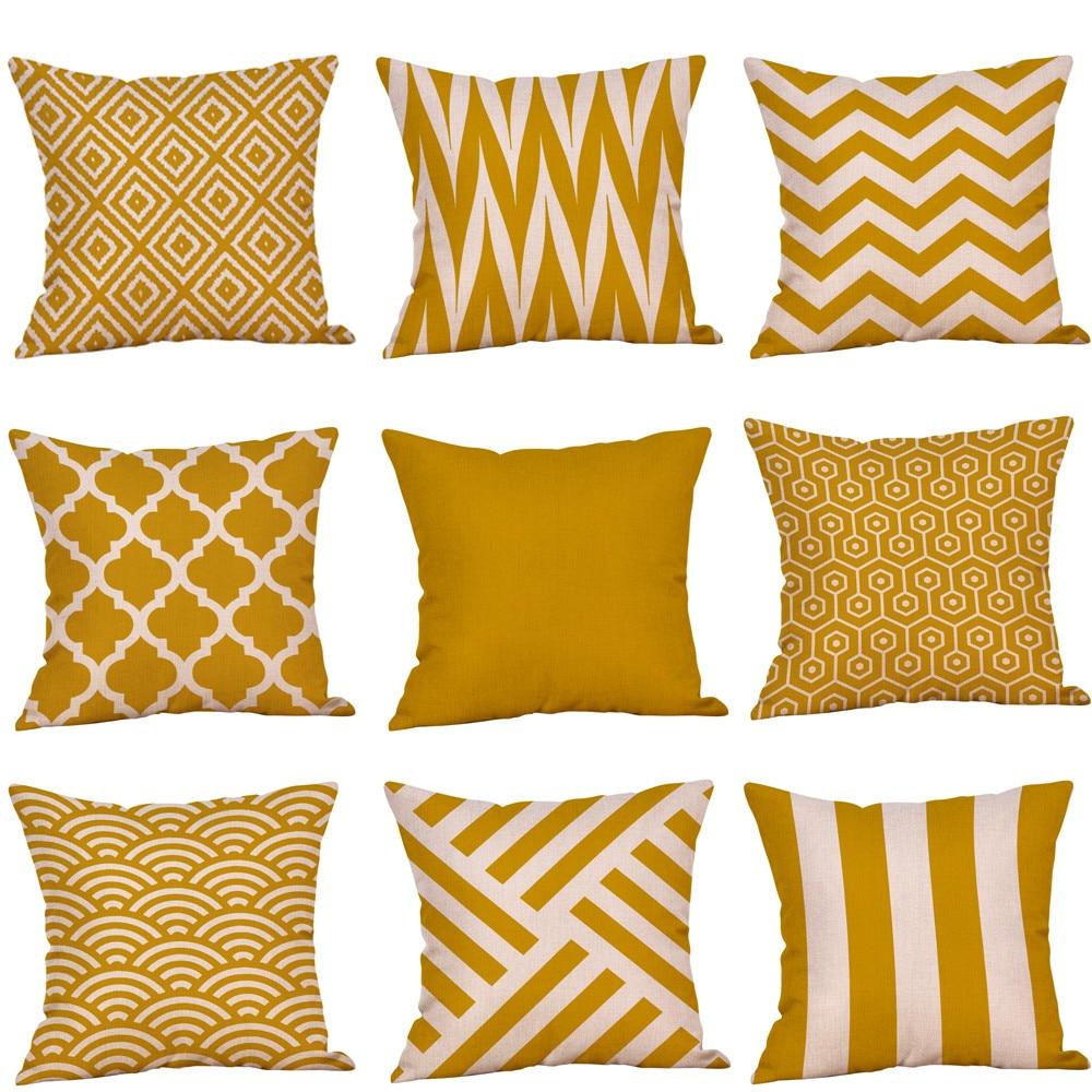 Funda De cojín De color mostaza amarillo geométrico otoño Funda De cojín decorativo Housse De Coussin fundas De almohada Funda Cojines