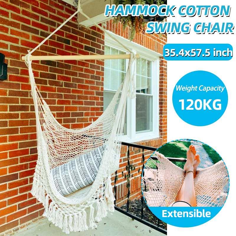 Hammock Chair Outdoor Indoor Hanging Cotton Hammock Swing Chair Net w/Macrame Fringe Tassels Seat For Child Adult