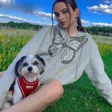 Women's hooded sweatshirt, Y2K large butterfly print long zipper jacket, 90's diamond Street clothin