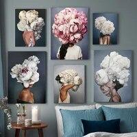Toile de peinture avec plume florale moderne pour femme  Style de mode abstrait  affiches et imprimes dart mural  decoration de la maison