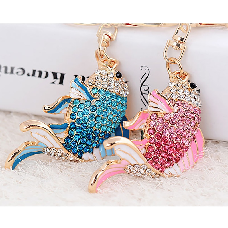 Exquisite Emaille Kristall Fisch Schlüssel Ketten Halter Goldfisch Tasche Schnalle Handtasche Anhänger Für Auto Schlüsselanhänger Schlüsselanhänger