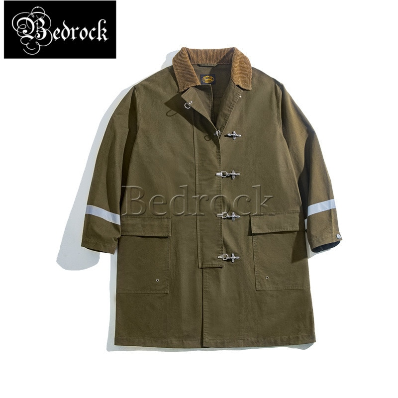 Retro mid-length firefighter windbreaker autumn and winter over knee reflective coat pure cotton army green men's jacket