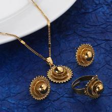 Ethiopian Gold Color Fashion Pendant Necklace Earrings Trendy Women Jewelry Sets
