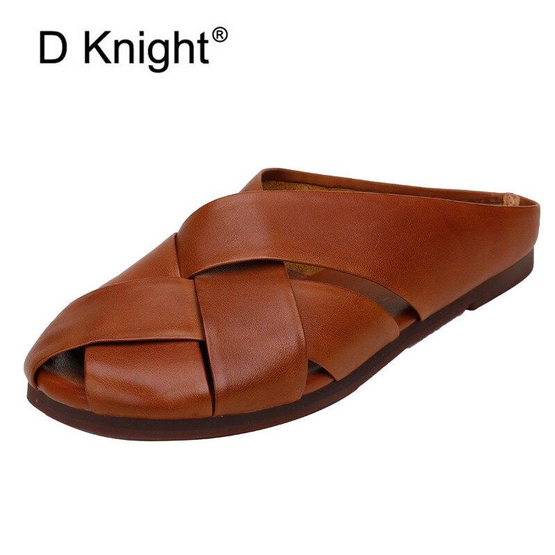 Verano de 2020 nuevo en zapatos de cuero genuino mujeres Mitad plana pantuflas fondo blando damas diapositivas abierta del dedo del pie cómodo sandalias al aire libre