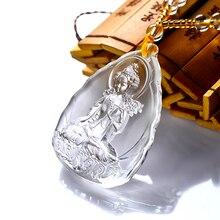 Perles de cristal argent amulette blanc Tara bouddha cristal pendentif bouddha collier amulette