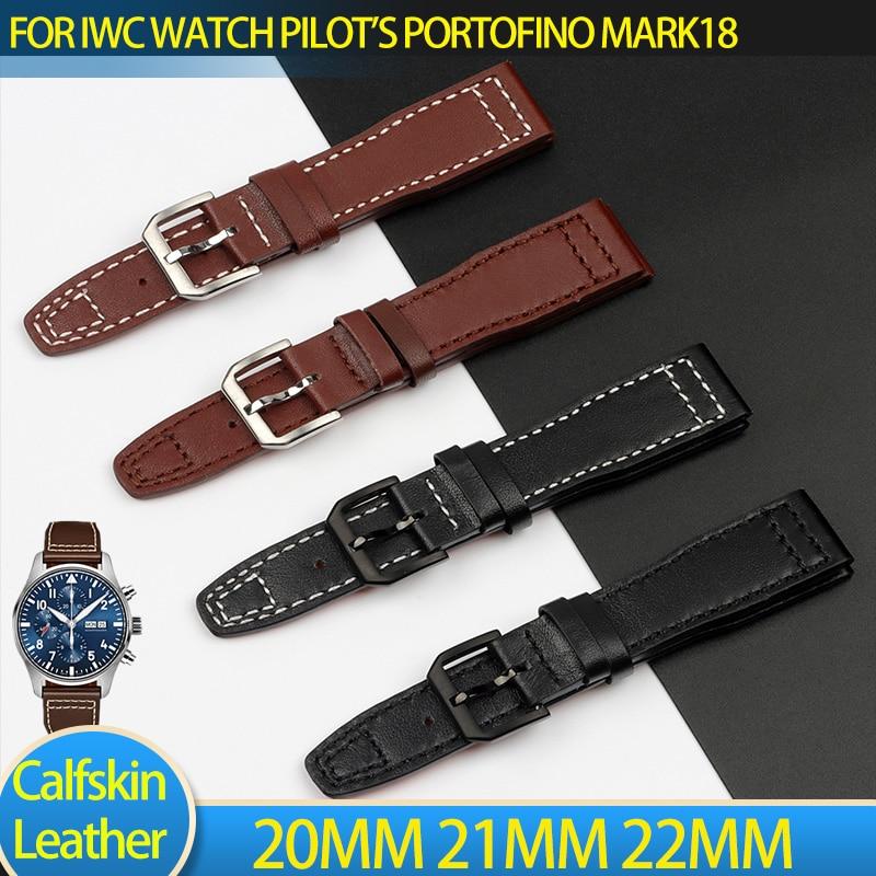 20mm 21mm 22mm pulseira para iwc cinta piloto mark xviii iw327004 iw377714 pulseira de relógio bezerro couro genuíno pino fivela