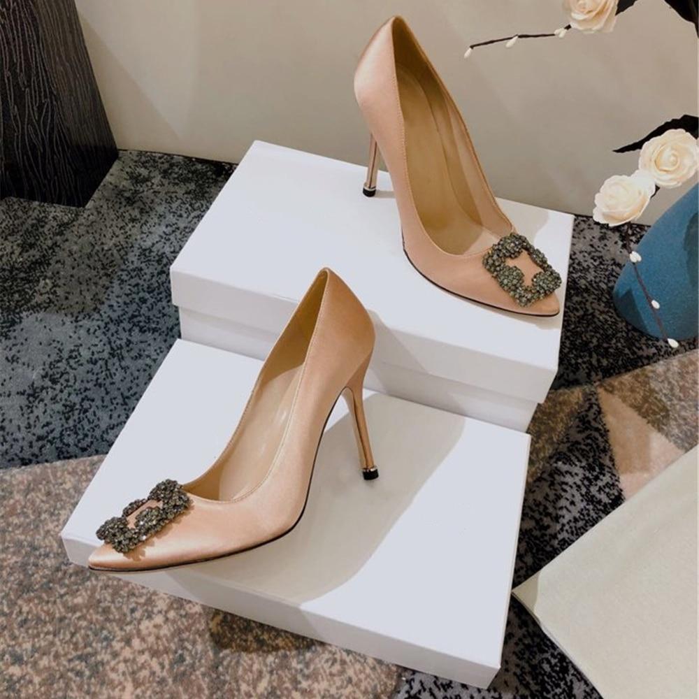 Junetxin strass mujeres bombas elegantes tacones altos Sexy mujeres zapatos de tacón puntiagudos señoras zapatos de cuero extremo mujeres bombas