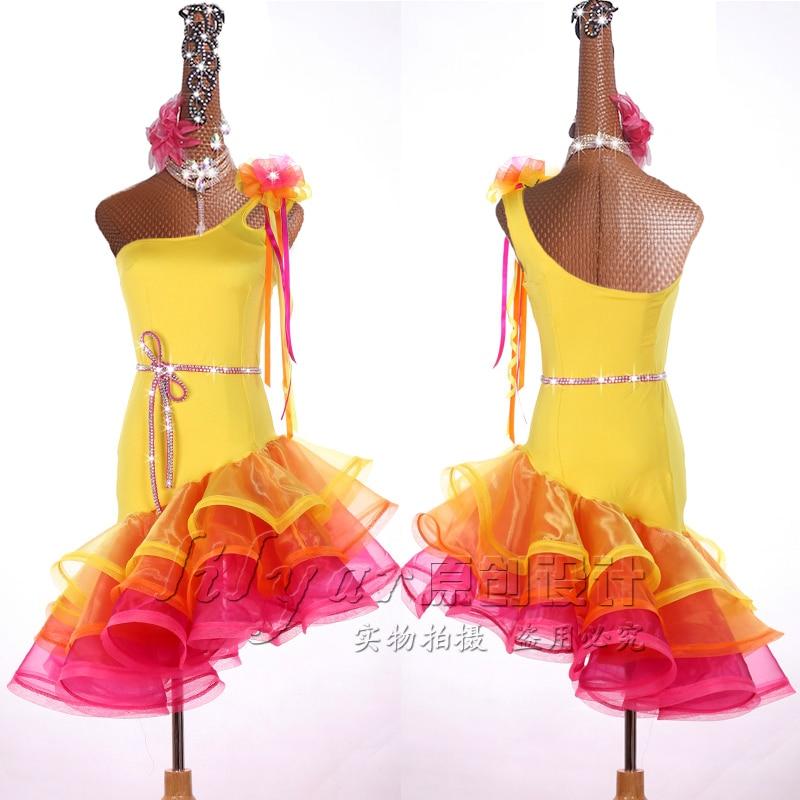 Юбка для латиноамериканских соревнований, юбка для выступлений, юбка с блестящими желтыми стразами, детская юбка для танцев на заказ