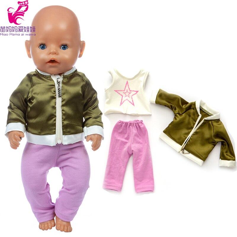 Ropa de muñeca de bebé recién nacido, chaqueta verde, pantalones de camisa para niña de 18 pulgadas, ropa de muñeca, abrigo