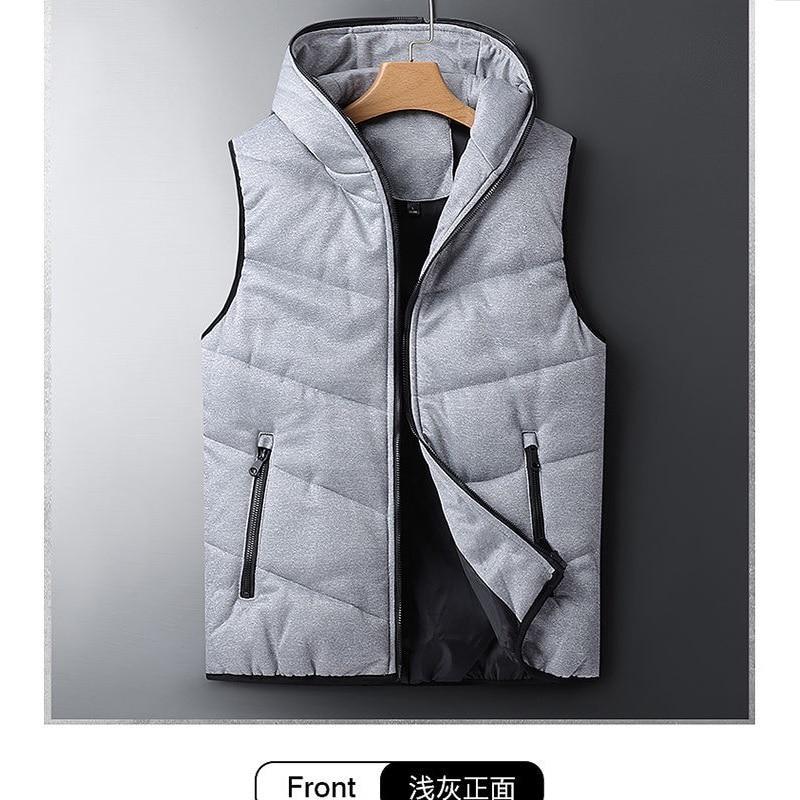 Новый стиль, мужская куртка, трендовая утепленная жилетка, парный зимний пуховой жилет с капюшоном