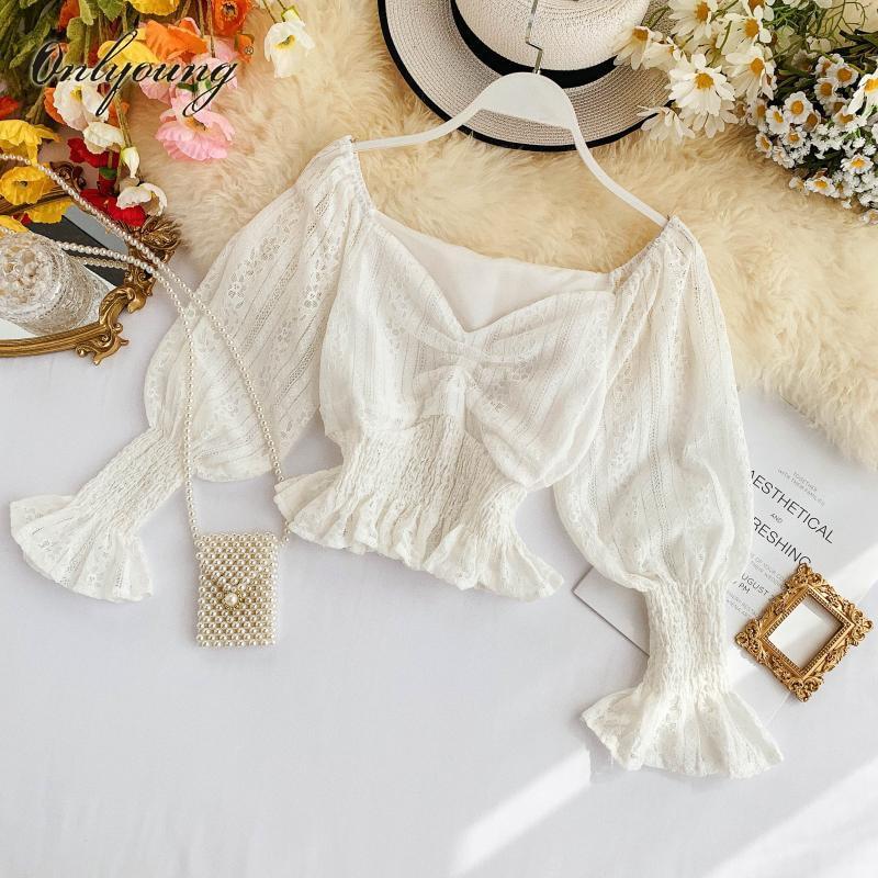 Onlyoung 2020 verano Mujer blusa blanca de encaje camisa de manga larga blusa corta Sexy Top corto