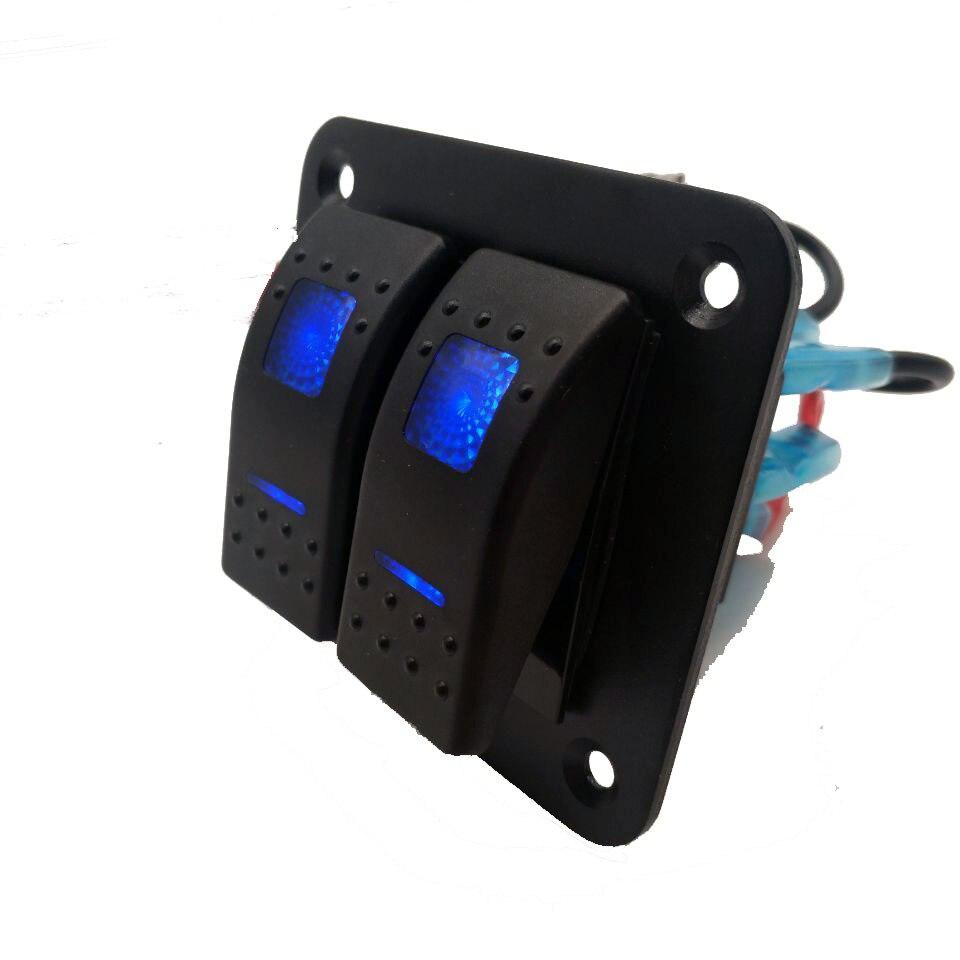 DC 12V - 24V LED Wasserdicht Rocker Switch Control Panel 2 Gang Rocker Switch Circuit Breaker Für Auto marine Boot