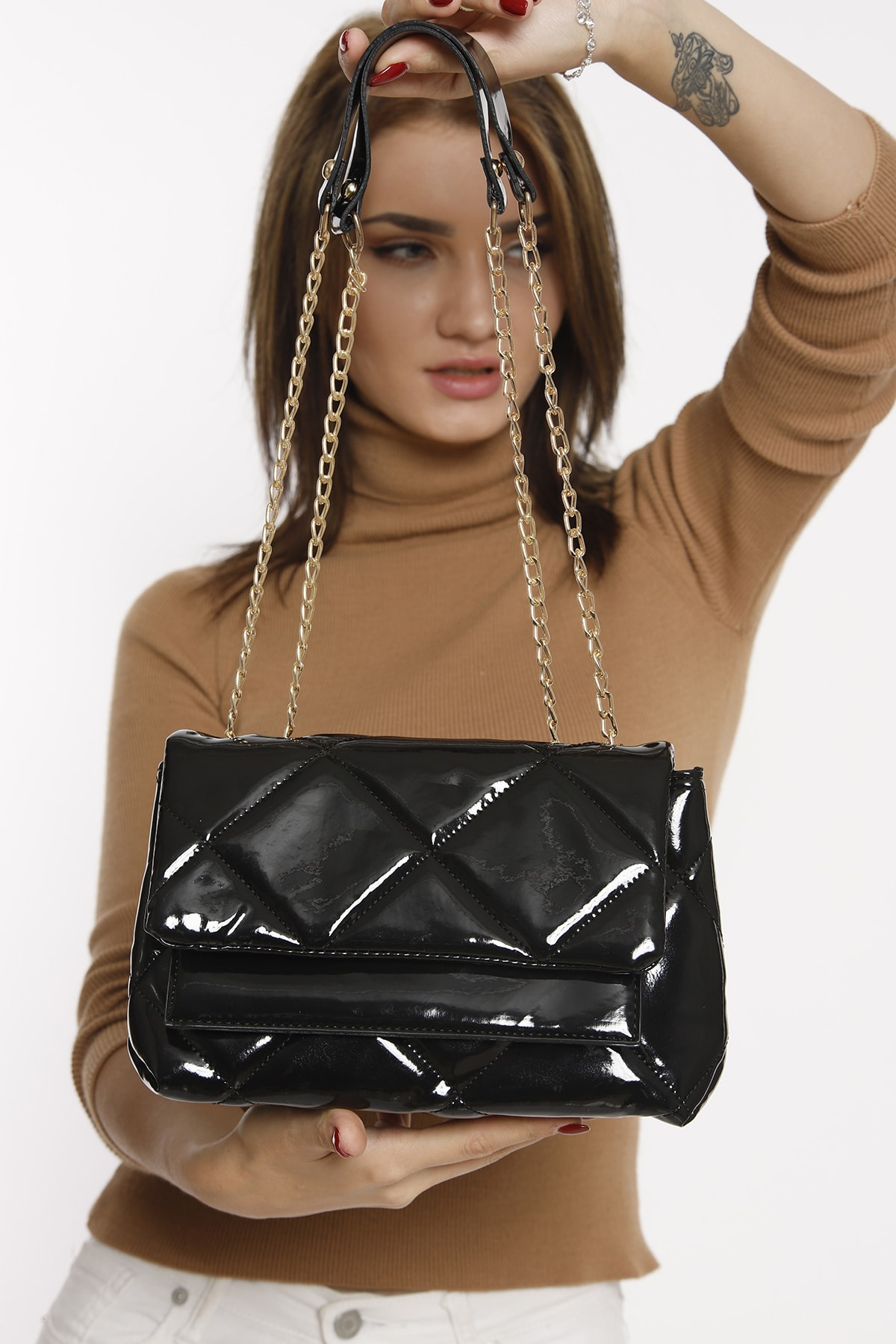 Patent Leather Chain Detailed Women's Shoulde Fashion Trend Shoulder Strap Waterproof Velvet Leather Casual Women's Shoulder Bag