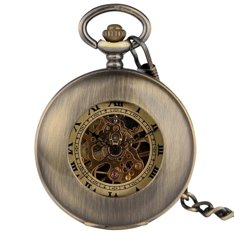 Steampunk Pocket Watch Retro Mechanical Hand Wind Mechanical Watches Bronze Hollow-out Design Smooth Case Pendant Chain Reloj