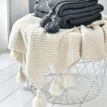 Gewinde Decke mit Quaste Solide Beige Grau Kaffee Decke für Bett Sofa Home Textil Mode Cape 130x170cmKnitted Decke