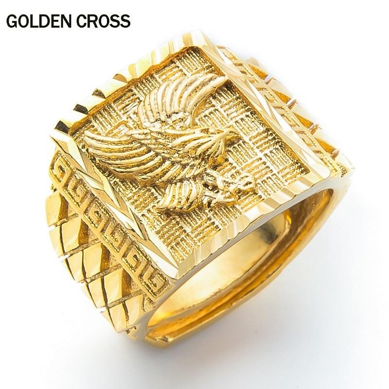 2019 hot seller Punk Rock Eagle Men 's Ring Gold Color Adjustable Finger Jewelry Luxury Never Fade