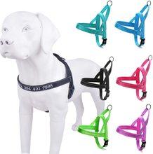 Harnais pour chiens en Nylon réfléchissant   Harnais pour animaux de compagnie Pitbull Pug petit et grand Anti-perte chiens, harnais brodés, nom et numéro de téléphone
