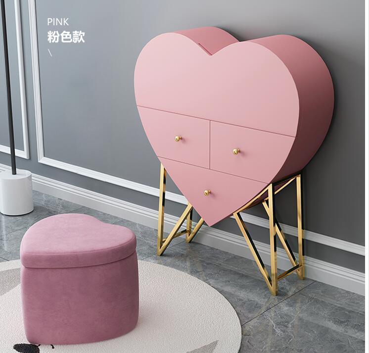 Многофункциональный туалетный столик в форме сердца спальня настенный туалетный столик с лампой чистый красный принцесса туалетный столи...