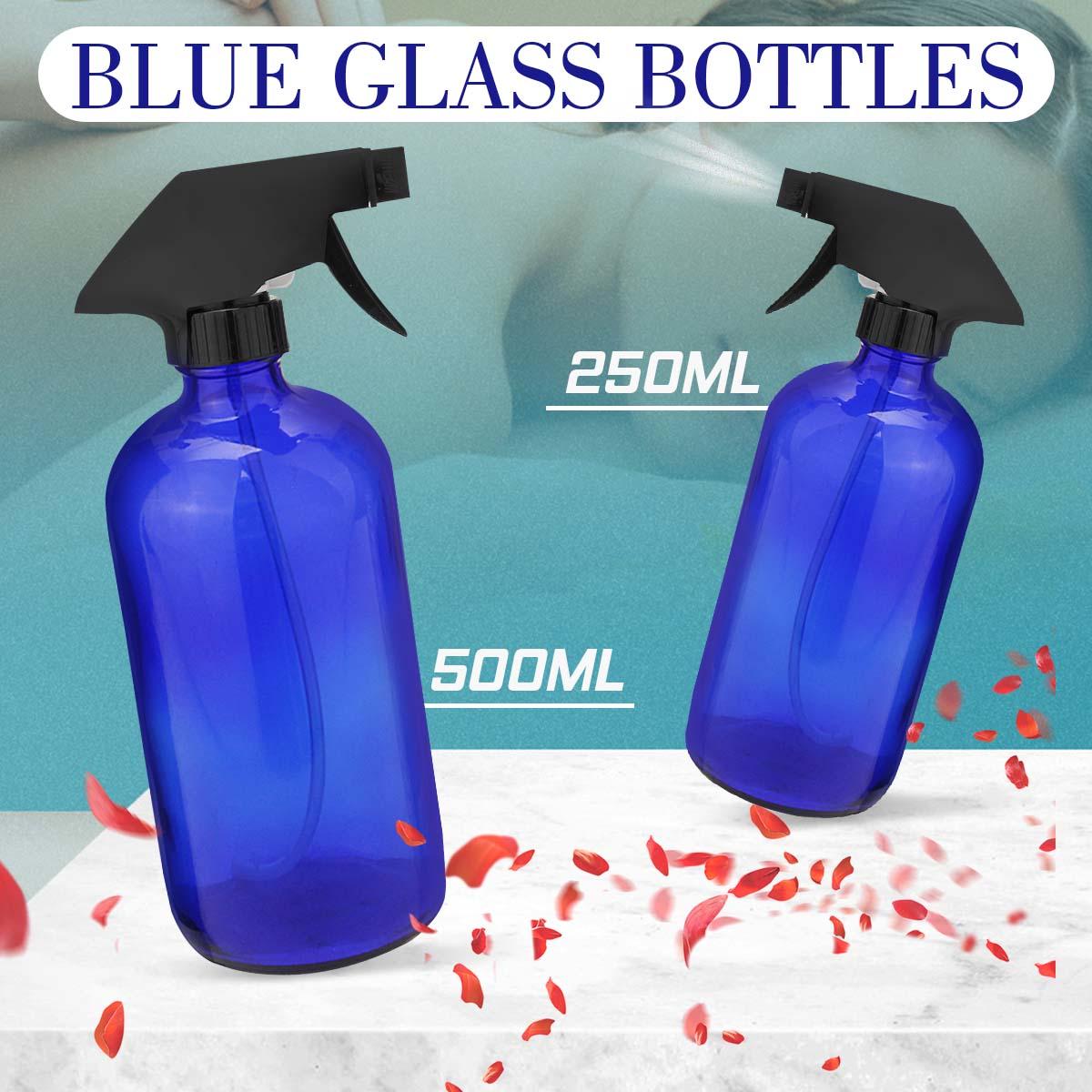 250/500ml garrafas de vidro azuis do pulverizador com óleo essencial do pulverizador do disparador aromaterapia recipiente cosmético vazio limpeza jardinagem
