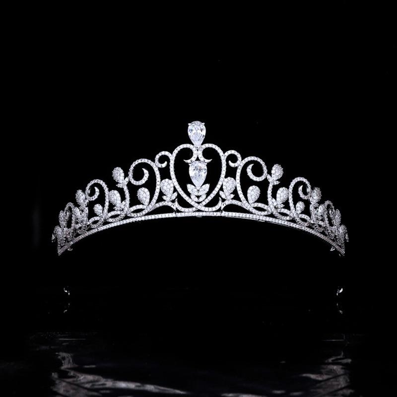 كامل الزركون العروس الزفاف تاج التيجان الغابات ليف الزفاف عقال للنساء الشعر مجوهرات اكسسوارات HQ0401