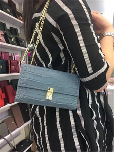 New Arrival Women Crocodile Shoulder Bag Genuine Leather Clutch Wallet Chain Luxury Evening Party Bag For Women