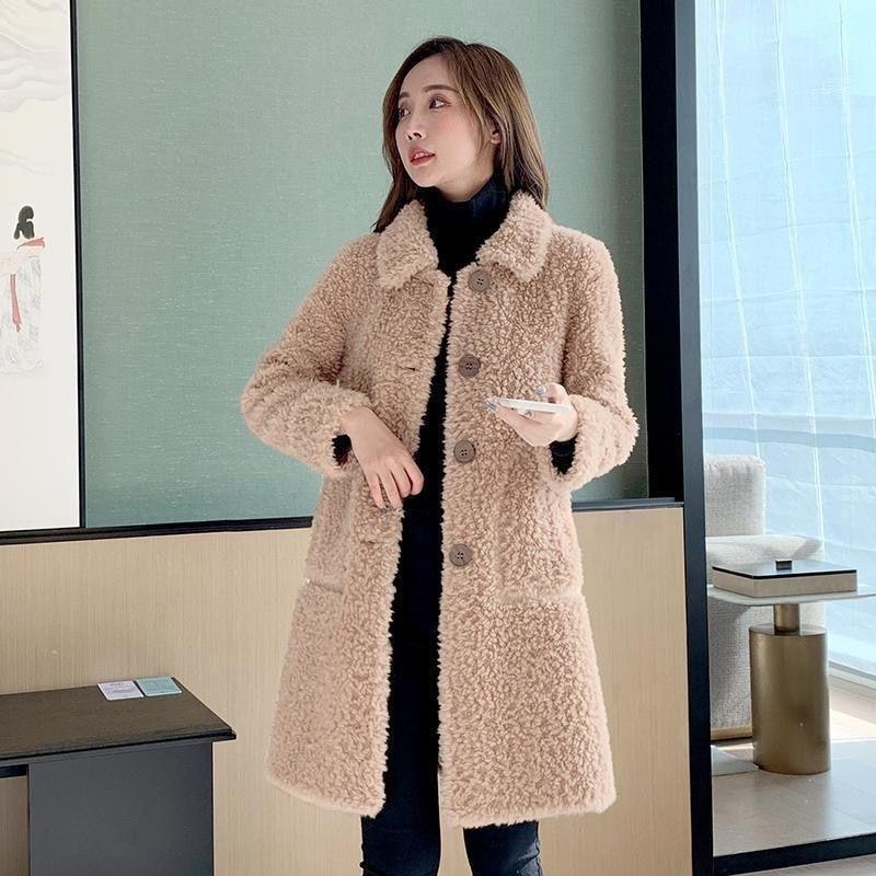2021 Women Winter Solid Real Wool Fur Coat Lady Genuine Sheep Shearling Fur Single Breasted Parka Fe