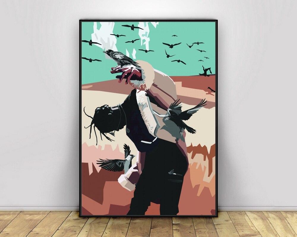 Arte Pop Hiphop rapero cantante de música Poster Print Wall Art Canvas Painting Home Decoration Canvas Print (sin marco) #3
