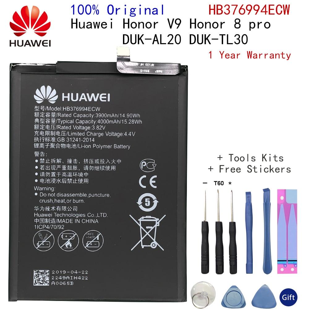 Оригинальная батарея Huawei honor 8 Pro батарея DUK-AL20 DUK-TL30 HB376994ECW 4000 мАч полная емкость батареи Huawei V9