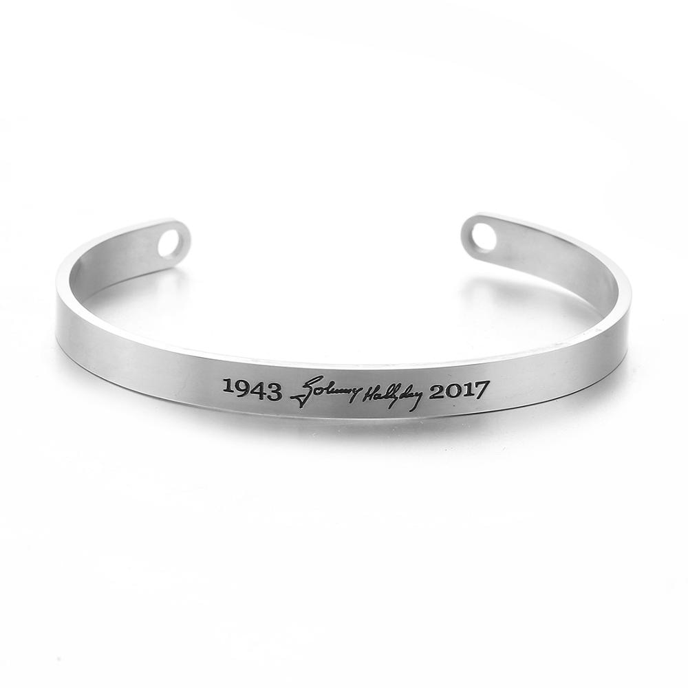 Pulsera Johnny Hallyday para hombre, brazalete para mujer, pulsera de acero inoxidable, regalo de joyería conmemorativo con nombre grabado
