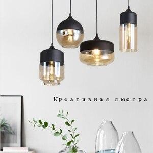 Modern Hanging Light Pendant Light with Bulb Nordic Loft Hanging Lamp LED Glass Pendant Lamp for Dinning Room Kitchen Home Decor