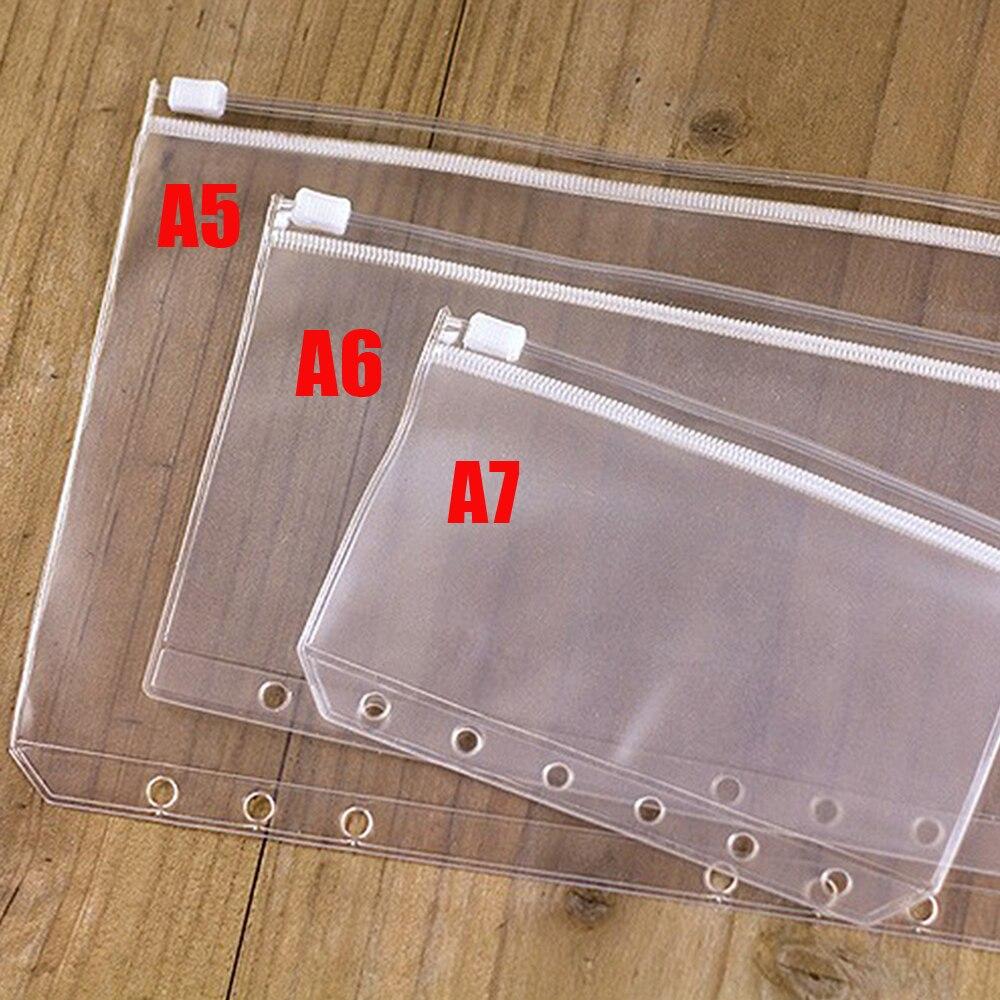 A5 A6 A7 PVC bolsa de cremallera bolsa de hoja suelta transparente elástico bolsa de cremallera separada planificador tarjeta de crédito bolsillos organizador de almacenamiento