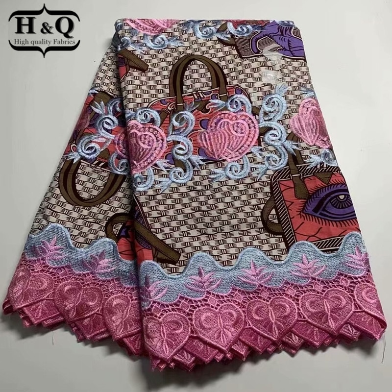 H&Q beautifical nigerian lace fabrics latest style lace wax fabric for dress 6 yards/pcs african lace embroidery fabric H0321
