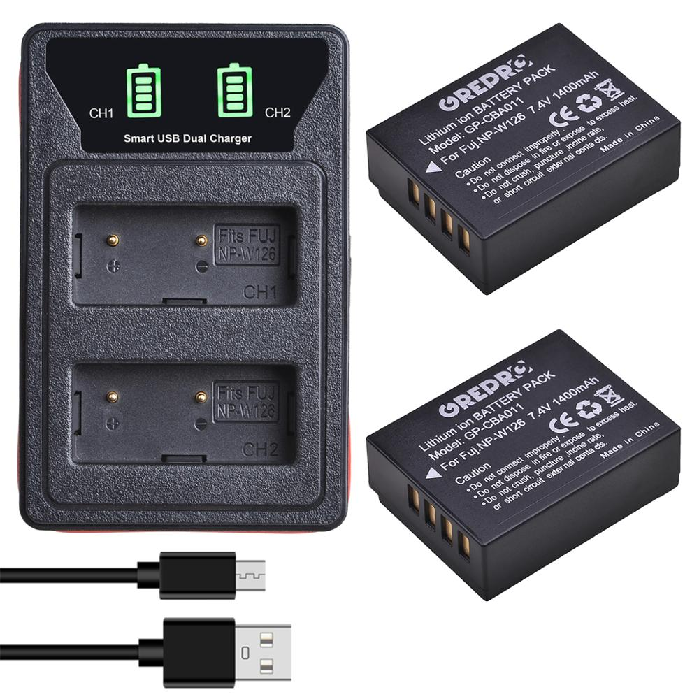 2Pcs NP-W126 NP-W126s NP W126 NPW126s battery + LCD type-c and USB Dual Charger for Fuji X-Pro1 XPro1 X-T1 XT1, HS30EXR X-A5 XA5