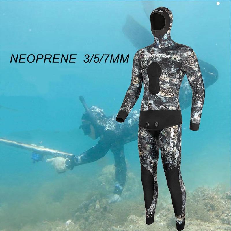 Men Scuba Long Sleeve Hooded 2 Pieces Neoprene Under Water Hunting Keep Warm Diving Suit Spearfishing Snorkeling Swim WetSuits