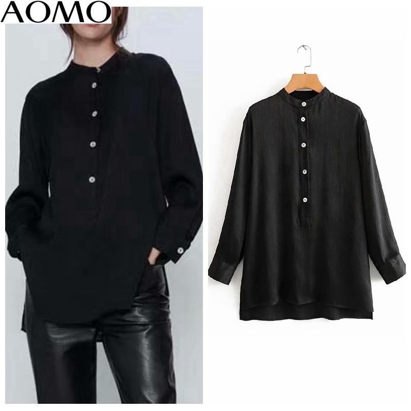 Aomo mulheres chiffon preto camisas de manga longa sólido gola mandarim elegante escritório senhoras trabalho wear blusas 3a90a