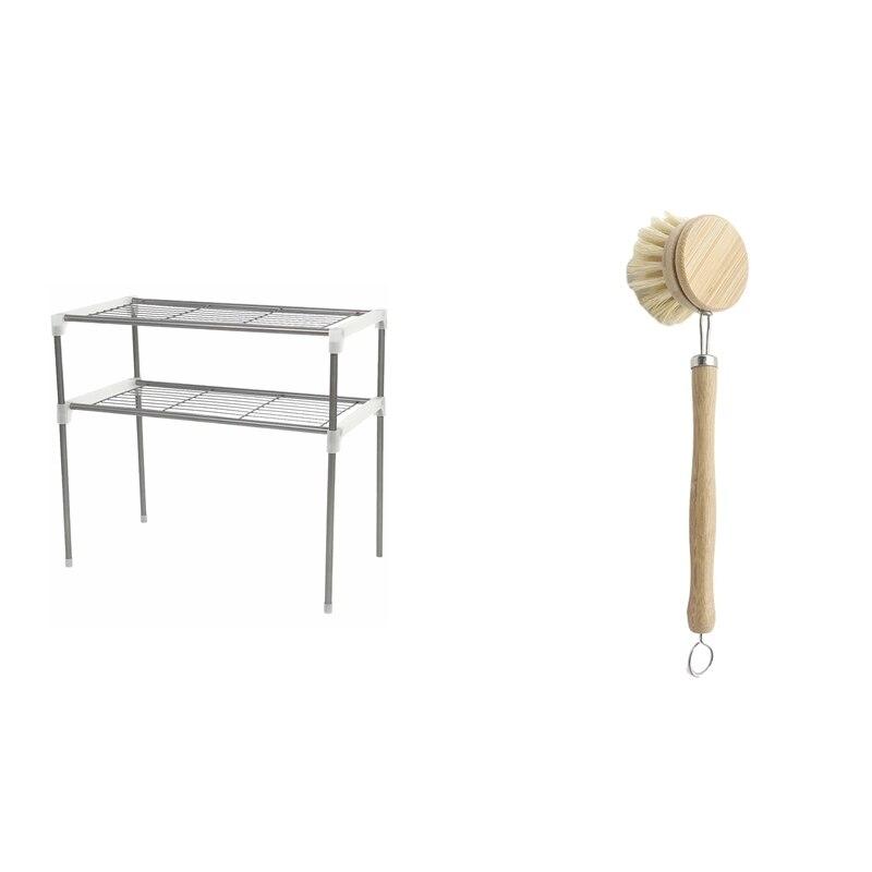 قابل للتعديل الصلب فرن الميكروويف الرف انفصال الرف و مقبض خشبي فرشاة وعاء من الخيزران