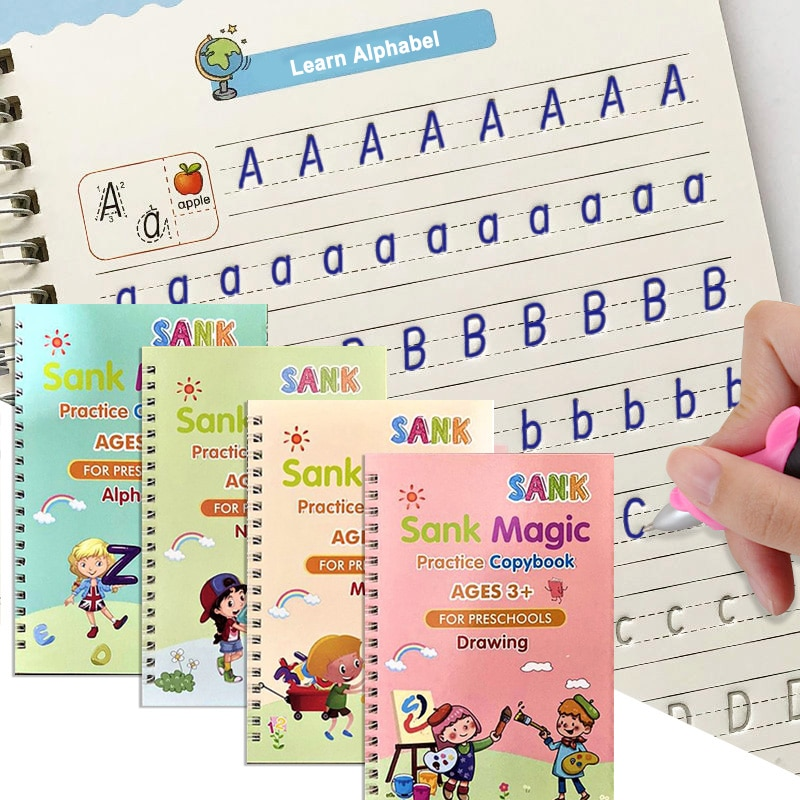 4 Books/Sets of Children's Magic Books, Reusable 3D Calligraphy Copybooks, English Number Lettering Magic Practice Copybooks